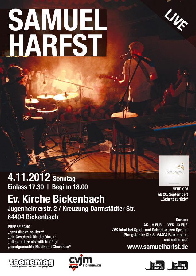 Flyer zum Konzert mit Samuel Harfst am 04.11.2012 in der Ev. Kirche Bickenbach